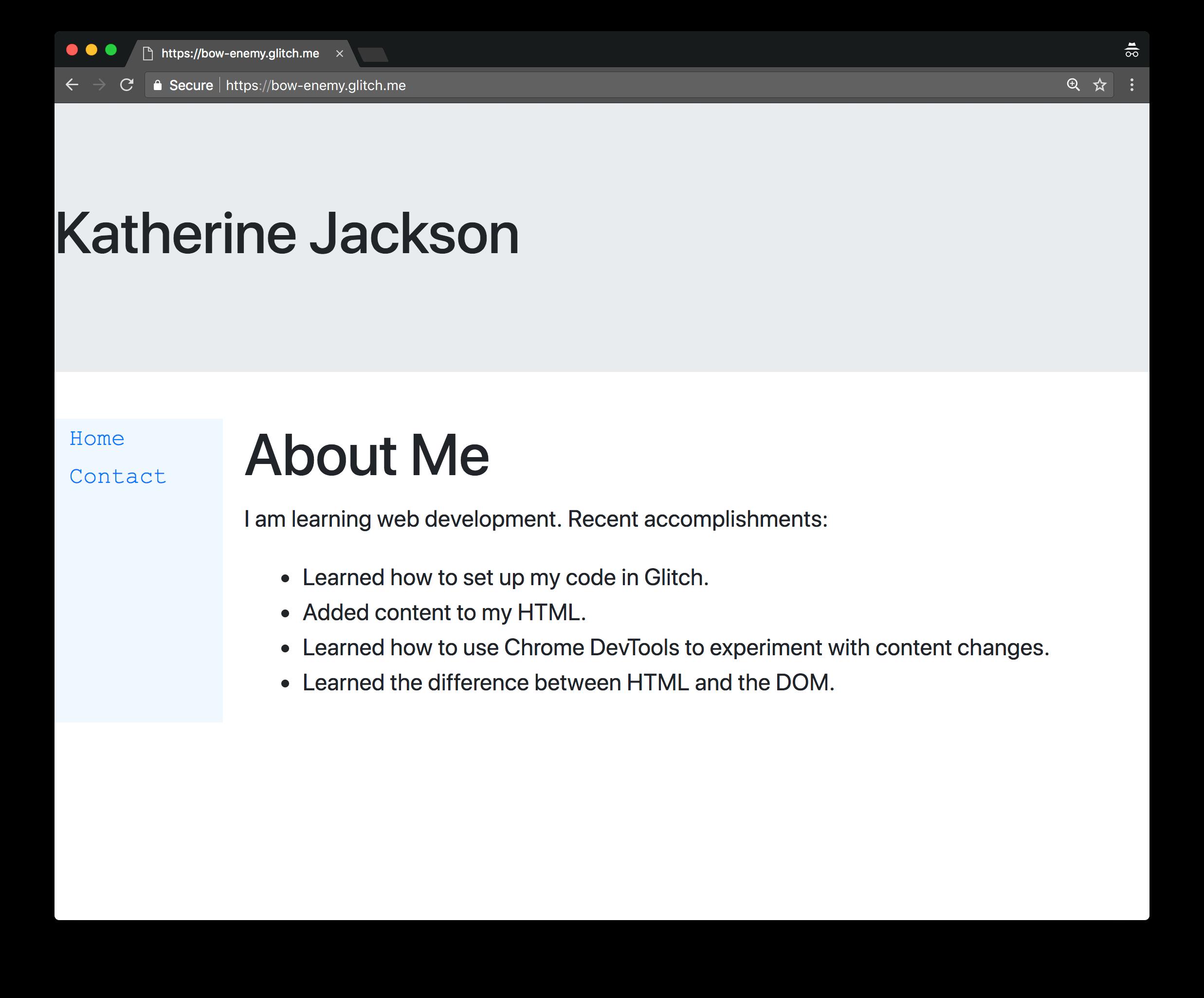 完成的网站。