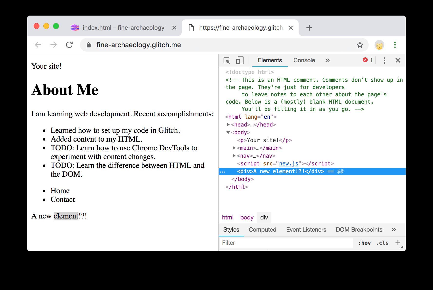 DevTools在页面旁边打开。