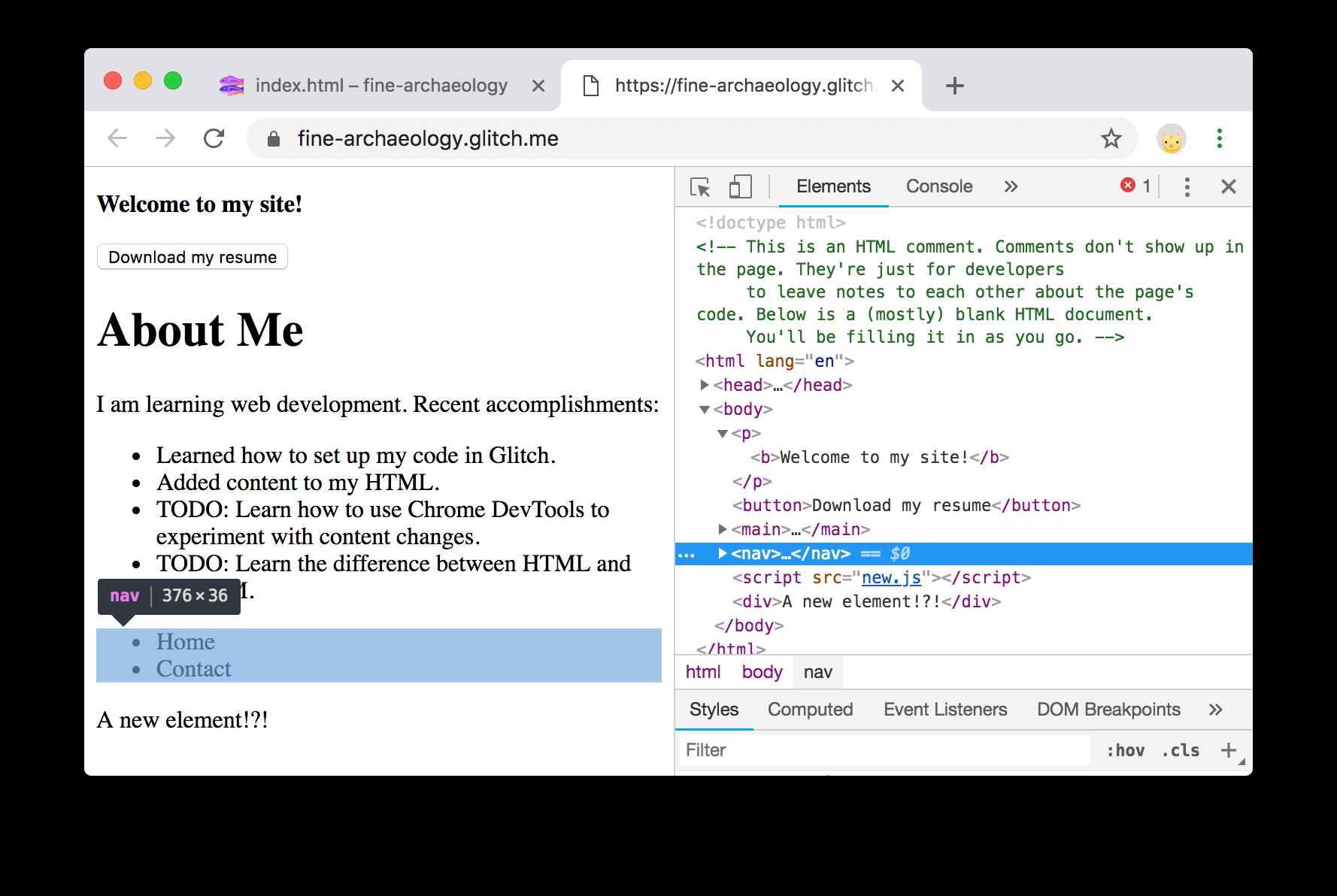 nav节点在DevTools中以蓝色突出显示。