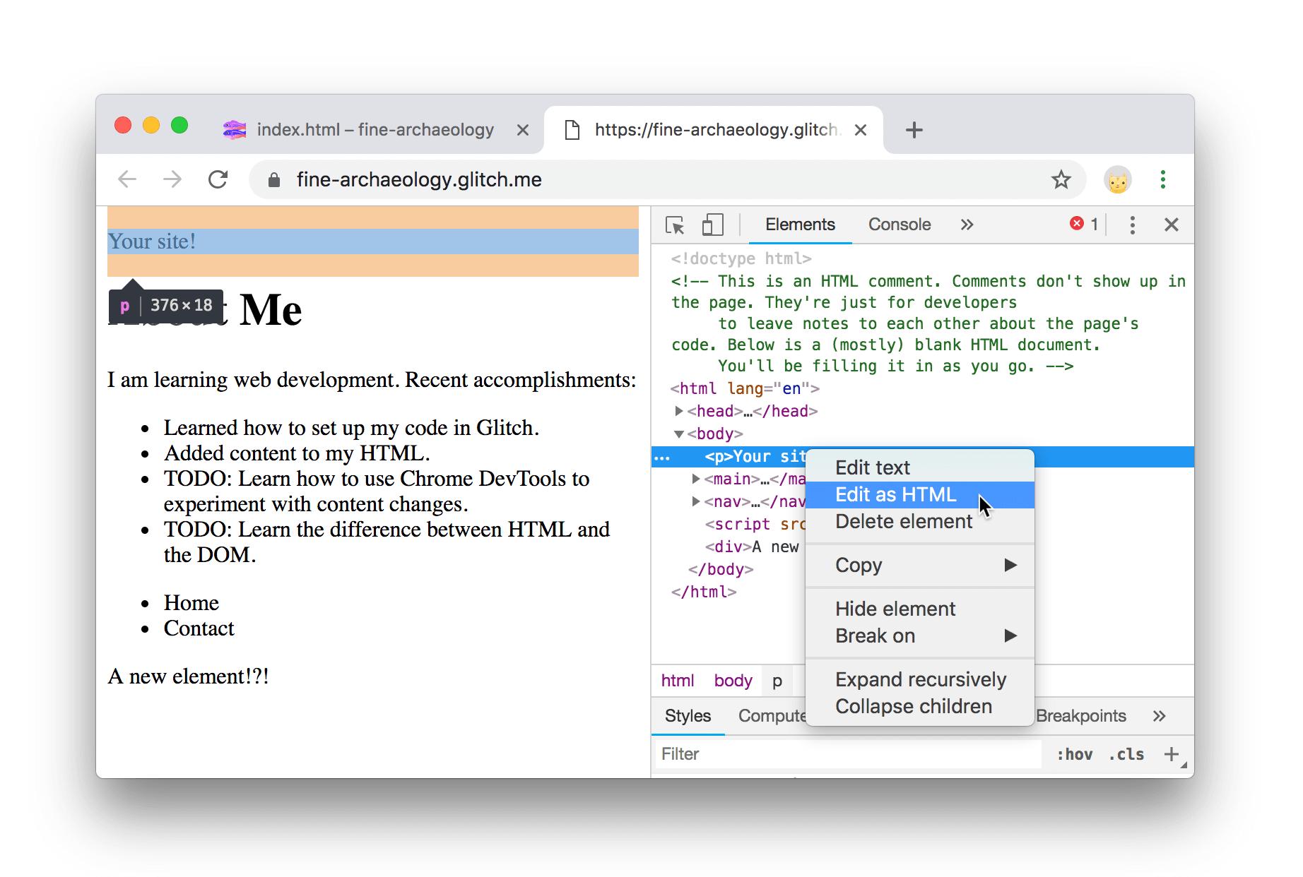 将节点编辑为HTML。